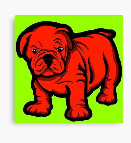 Grumpy Bull Dog Puppy Red Canvas Print
