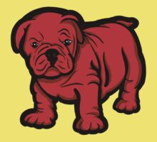 Grumpy Bull Dog Puppy Red Kids Clothes