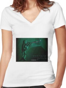 Window of Justice, Bin Laden Women's Fitted V-Neck T-Shirt