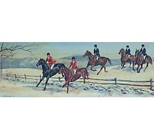 Snowy Hunt Scene Photographic Print