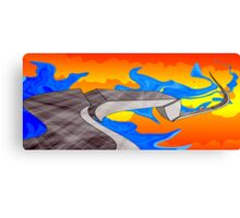 Blue Mud on the Side of the Road During Sunset Canvas Print