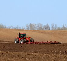 Large Tractor cultivating by Robin M. Monk