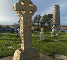 Celtic cross at Clonmacnoise by John Quinn