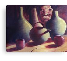 Mask with African Jugs, Cups and Bottles Canvas Print