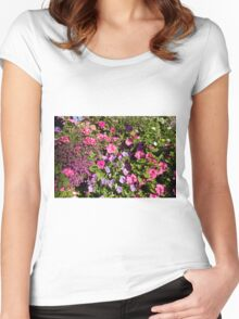 Colorful pink, white, purple garden flowers. Floral nature photography. Women's Fitted Scoop T-Shirt