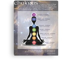 Chakras Meditation Art with Information & Quote Metal Print