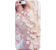 Sensual portrait of beautiful nude asian woman covered with pink rose petals art photo print iPhone Case/Skin