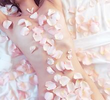 Sensual portrait of beautiful nude asian woman covered with pink rose petals art photo print by ArtNudePhotos
