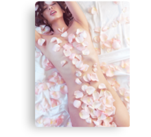 Sensual portrait of beautiful nude asian woman covered with pink rose petals art photo print Canvas Print