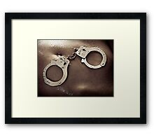 Shiny handcuffs on wet naked woman body art photo print Framed Print