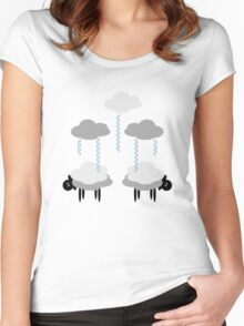 Wooly Weather - Sweater Weather - Sheep Rain Clouds Women's Fitted Scoop T-Shirt