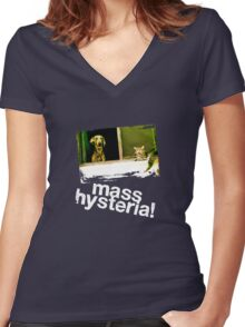 Dogs and cats living together. Mass hysteria! Women's Fitted V-Neck T-Shirt