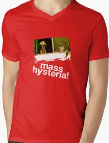 Dogs and cats living together. Mass hysteria! Mens V-Neck T-Shirt