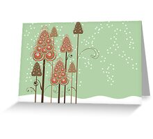 Whimsical Christmas Trees Greeting Card