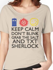 SUPERWHOLOCK SUPERNATURAL DOCTOR WHO SHERLOCK Women's Relaxed Fit T-Shirt