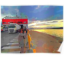 Olbia: port and ferry boat at dawn Poster