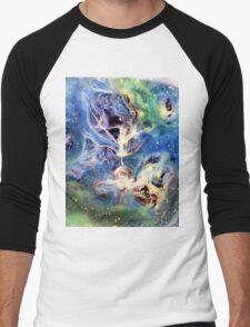 White Light Watercolor Abstraction Painting Men's Baseball ¾ T-Shirt