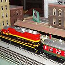 Model Lionel Locomotive, Model Buildings, New York Transit Museum Annex Gallery Train Show, Grand Central Terminal, New York City by lenspiro