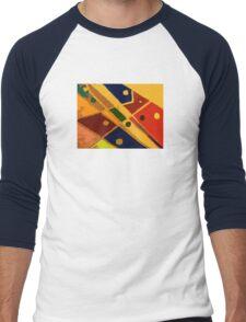 Retro Abstract Art Golden Men's Baseball ¾ T-Shirt