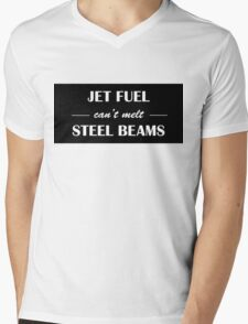 JET FUEL can't melt STEEL BEAMS (white) Mens V-Neck T-Shirt