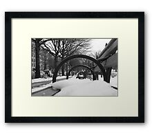 Snow-Covered Bench Framed Print