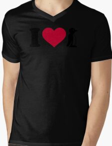 I love Penguin Mens V-Neck T-Shirt