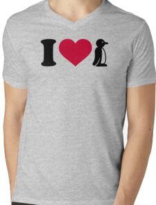 I love Penguin Mens V-Neck T-Shirt