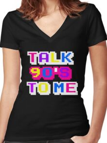 TALK 90'S TO ME  Women's Fitted V-Neck T-Shirt
