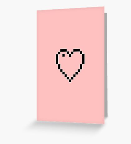 Pixel Heart Black Greeting Card
