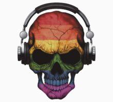 Dj Skull with Gay Pride Rainbow Flag One Piece - Short Sleeve