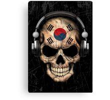 Dj Skull with South Korean Flag Canvas Print