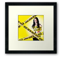 Dead zombie wrapped in tape at crime scene Framed Print