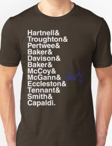 DOCTOR WHO THE DOCTORS' NAMES Unisex T-Shirt