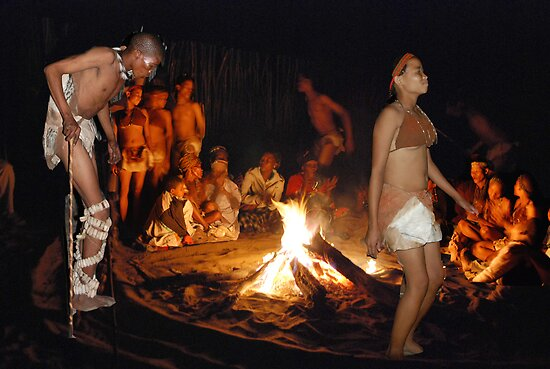 San (Kalahari) Bushmen Healing Ceremony Collage, Botswana, Africa by Adrian Paul