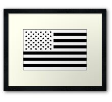 Black and White USA Flag Framed Print