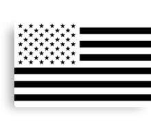 Black and White USA Flag Canvas Print