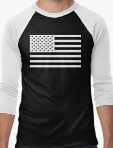 Black and White USA Flag Men's Baseball ¾ T-Shirt