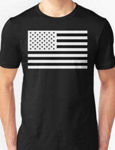 Black and White USA Flag Unisex T-Shirt