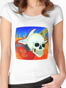 Rock n Roll Skull Women's Fitted Scoop T-Shirt