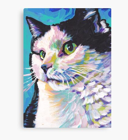 Tuxedo Cat Bright colorful pop kitty art Canvas Print