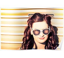 Face of a retro beauty model in cool accessories Poster