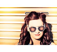 Face of a retro beauty model in cool accessories Photographic Print