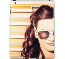 Face of a retro beauty model in cool accessories iPad Case/Skin