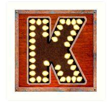 Vintage Lighted Sign - Monogram Letter K Art Print