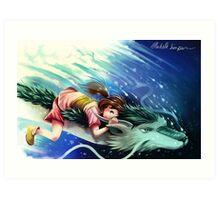 Spirited Away, Haku and Chihiro Art Print