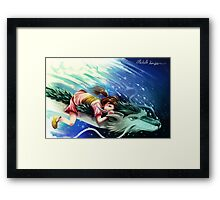 Spirited Away, Haku and Chihiro Framed Print