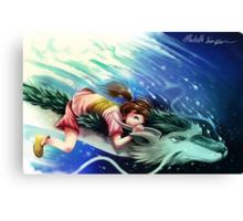 Spirited Away, Haku and Chihiro Canvas Print