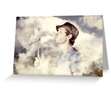 Alternative energy man with wind power solution Greeting Card