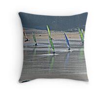 Land Yacht Racing at Godrevy Sands. Throw Pillow