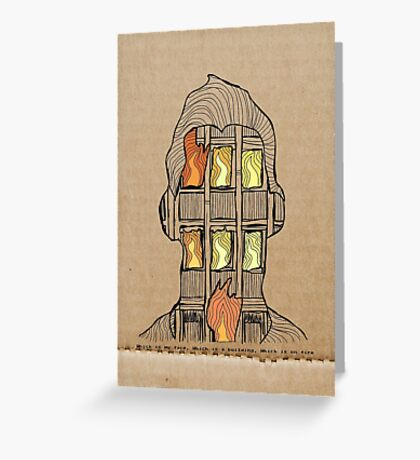 Which is my face, Which is a building, Which is on fire. Greeting Card